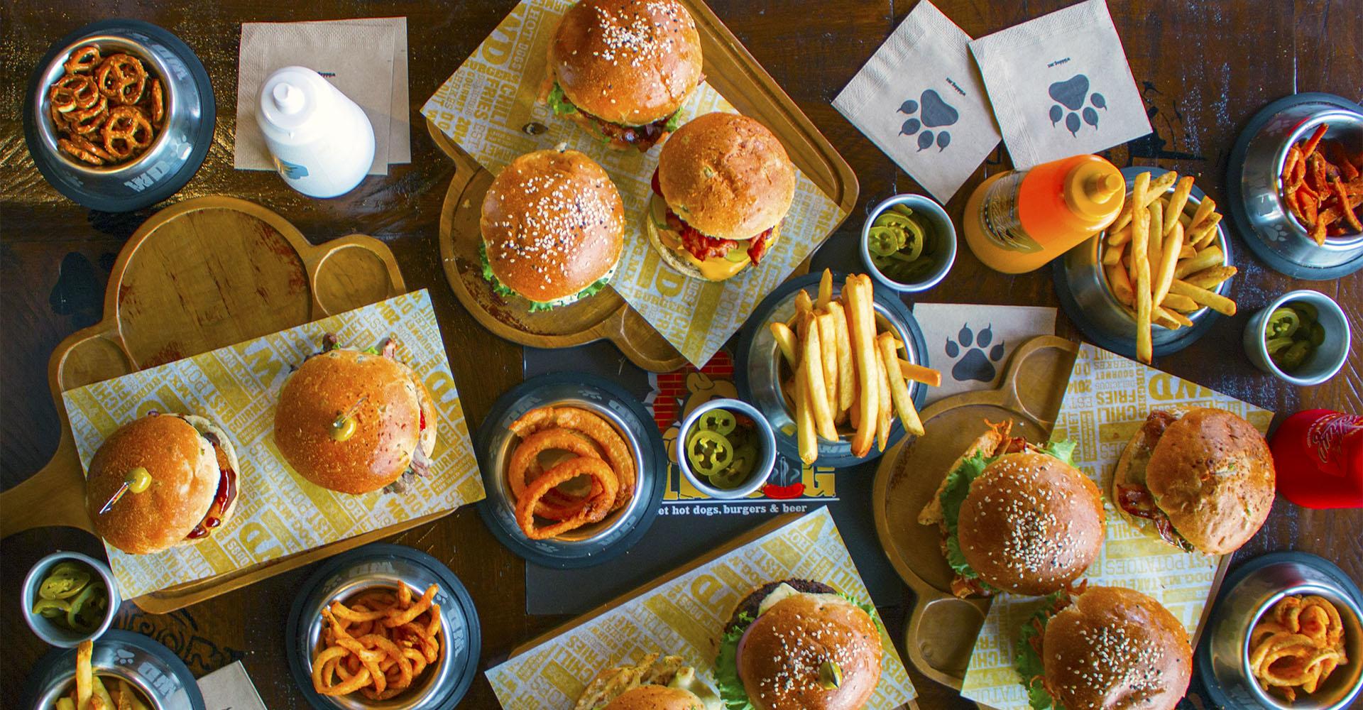 Vista de los diversos tipos de hamburguesa que ofrece Wildog
